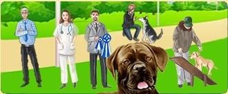 Occupati dei cani nel salone di toelettatura o nell'ambulatorio veterinario, fa sì che avanziono nel gioco  grazie agli altri allevatori di cani  nel club per cani...
